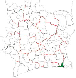 Location in Ivory Coast. Grand-Bassam Department has retained the same boundaries since its creation in 1998.