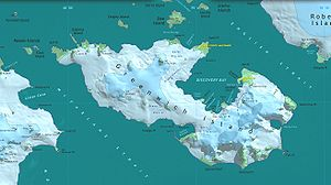 Map of Greenwich Island with the Quito Glacier (top right)