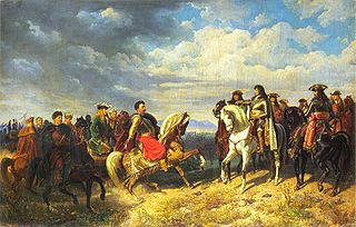 King Jan III Sobieski meets emperor Leopold I near Schwechat