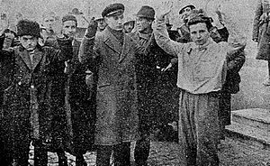 Legionnaires' rebellion and Bucharest pogrom - Romanian fascists, members of the Iron Guard, arrested by the Army after the Bucharest pogrom and anti-government rebellion.