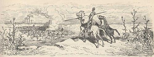 A line drawing of two mounted men looking down over a cliff at a rising cloud of smoke. The man on the left is garbed as a knight.