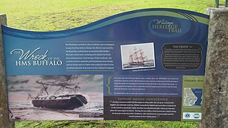 HMS Buffalo (1813) - The sign next to H.M.S. Buffalo Memorial