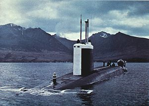 Resolution-class submarine - HMS Repulse in the Firth of Clyde in 1979.