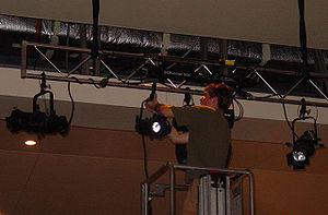 Electrician (theatre) - An electrician hangs stage lights