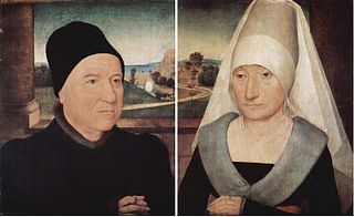 Diptych of an aged couple