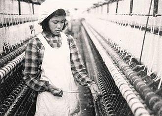 Hao Jianxiu - Hao Jianxiu working in a cotton mill
