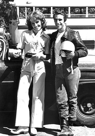 Roz Kelly - Kelly as Pinky Tuscadero with Henry Winkler as Fonzie, 1976