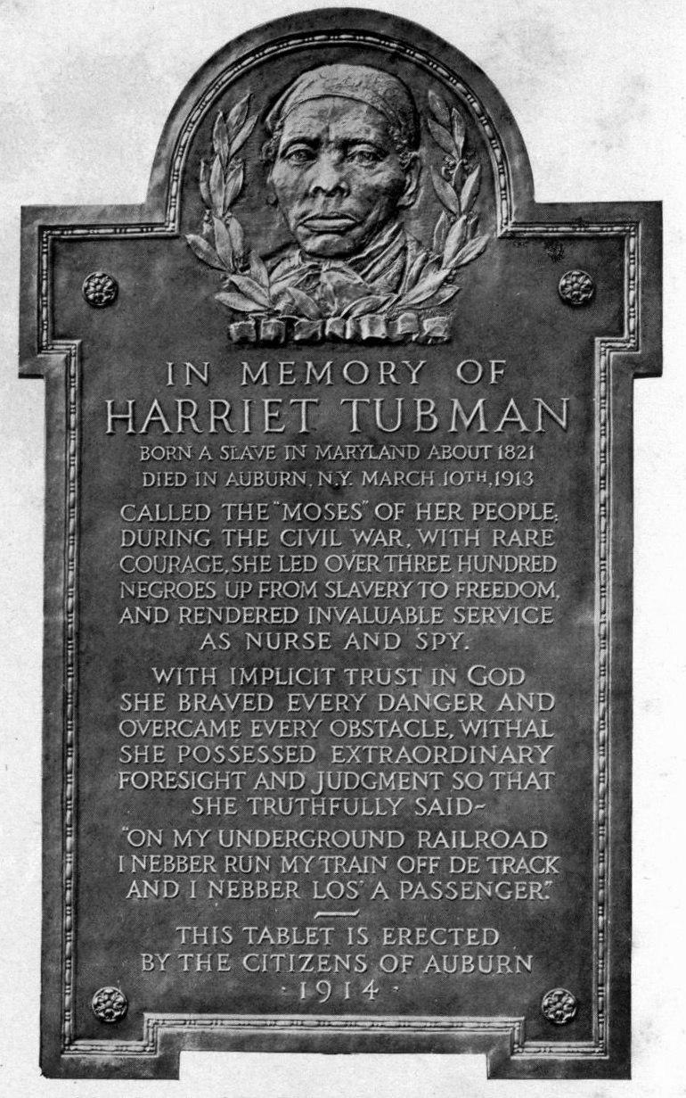 Harriet Tubman plaque Auburn, NY