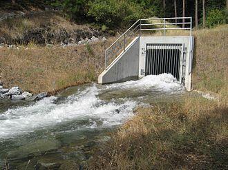 Sly Park Dam - Hazel creek tunnel diverts water into Jenkinson Lake.