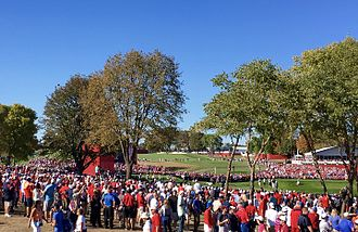 2016 Ryder Cup - Crowds gather around the 17th hole at Hazeltine National Golf Club in Chaska, Minnesota during the 2016 Ryder Cup