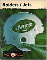 Program cover from the game between the Jets and Raiders