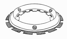 A pair of close-fitting plates, each formed with a conical ring and with teeth alternating between inside and outside on alternate plates