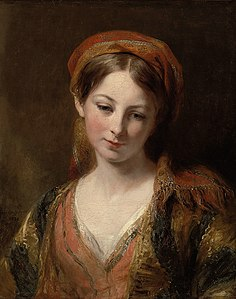 An 1839 oil painting by Margaret Sarah Carpenter (1793–1872), possibly of Henrietta Carpenter. Margaret was a notable British painter who exhibited at the Royal Academy of Arts, won multiple awards, and was given a pension by Queen Victoria.