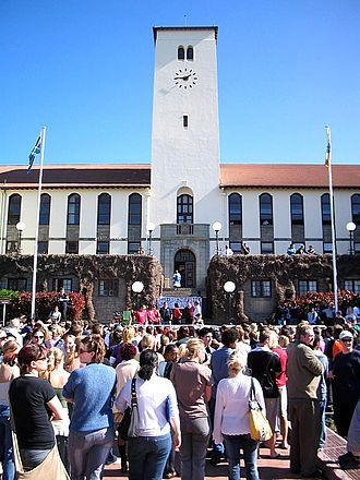 Rhodes University - The Sir Herbert Baker clock tower at the heart of the Rhodes campus. The clock tower was designed by Herbert Baker in 1910 and constructed in subsequent years.