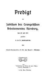 Predigt am Jubiläum des Evangelischen Arbeitervereins Nürnberg