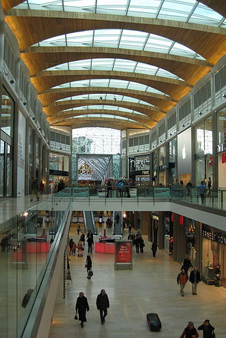 Highcross Leicester - The interior of part of the covered extension