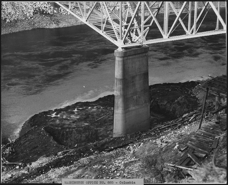File:Highway bridge pier No. 2 showing ground leveled to elevation 942, preparatory to driving piling for enlargement of... - NARA - 294164.tiff