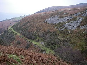 Blaenavon Industrial Landscape - Hill's Tramroad leading from the Pwll Du Tunnel to the Garnddyrys Forge. Line above is the leat that carried water from the balancing pond east of Pwll Du to the forge site at Garnddyrys