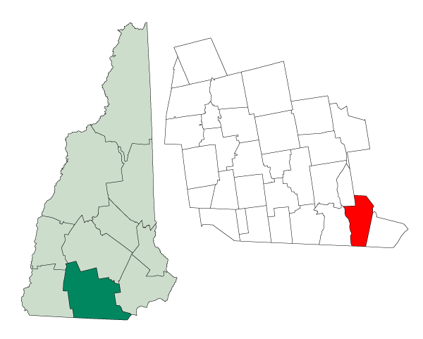 Location within Hillsborough County, New Hampshire