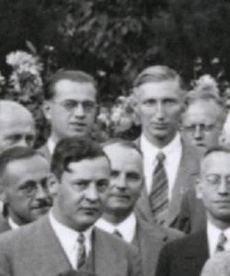 Erich Hückel - Above Rudolf Hilsch and Otto Scherzer, in front Erich Hückel, 1935 at Stuttgart