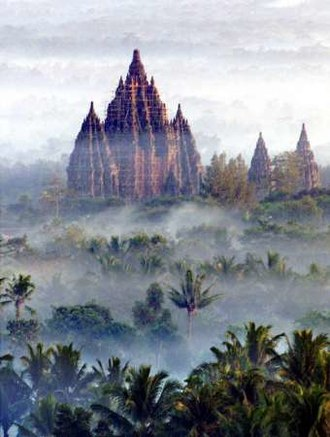 Prambanan - The Prambanan temple compound amid the morning mist.