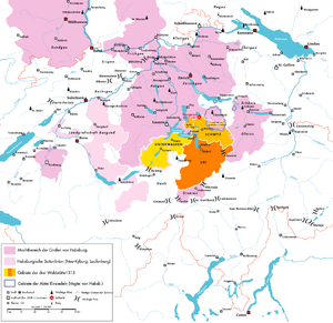 Early history of Switzerland - The Habsburg possessions in Switzerland (pink) and the core territories of the Swiss Confederacy (yellow/orange) as of 1315.