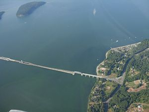 Hood Canal Bridge - Aerial view of the bridge's southeast half, with drawspan section at far left