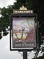 Hope and Anchor pub sign, Wye Street - geograph.org.uk - 1387596.jpg