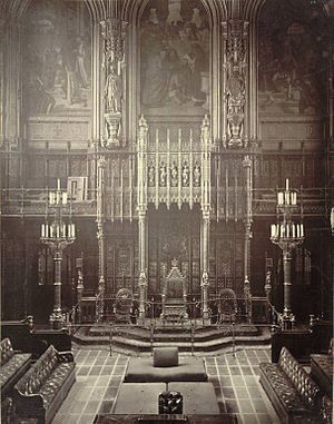 Woolsack - House of Lords, Westminster, c.1870-1885. The Woolsack  (with back-rest) can be seen facing the throne in the upper foreground, in front of the judges' woolsack