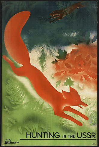 Fox hunting - Lithograph. Tourism travel poster issued 1922–1959 (approximate)