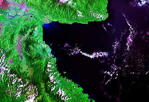 Huon Gulf - Huon Gulf seen from space (false color)