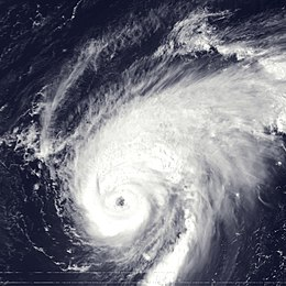 A view of Hurricane Erika from Space on September 8, 1997. The storm's eye, visible near the center of the image, is well-defined and representative of a strong hurricane. Puerto Rico and the Dominican Republic are seen to the southwest of Erika