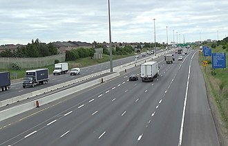 Ontario Highway 427 - Nearly-completed Hwy. 427 widening work as seen from the Morning Star Drive overpass