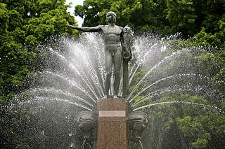 Archibald Fountain in Hyde Park. The fan of water jets represent the rising of the sun.