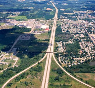Interstate 96 - Image: I 96 and I 496, Lansing