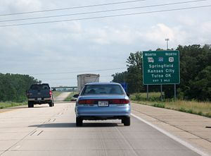Interstate 44 in Missouri - I-44 approached by U.S. 71 (now part of I-49) just south of Joplin.