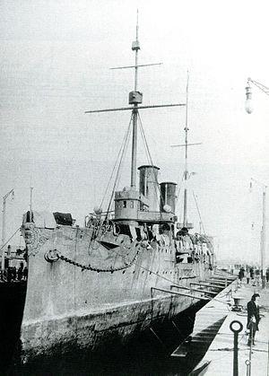 Japanese cruiser Akashi - In drydock, 1905.