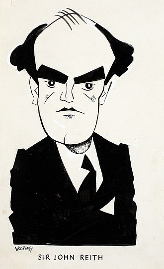 History of broadcasting - Caricature of Sir John Reith, by the artist, Wooding.