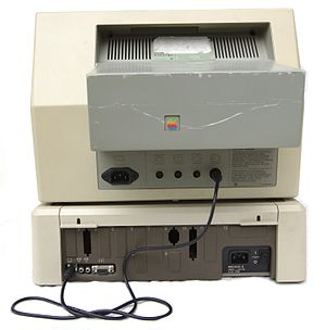 Apple IIe - Rear view of an Apple IIe computer and monitor.
