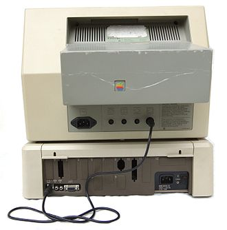Apple IIe - Rear view of an Apple IIe computer and monitor
