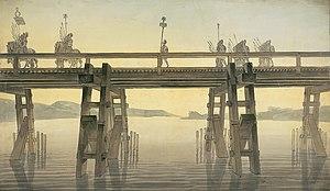 Caesar's Rhine bridges - Caesar's Rhine Bridge, by John Soane (1814)