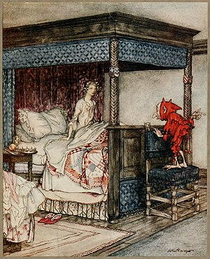 "Billy Blind - ""O Waken, Waken, Burd Isbel"", Illustration by Arthur Rackham to Young Bekie:  Billy Blind waking Burd Isobel."