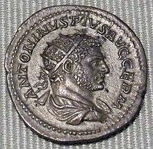 Antonino d'argento con ritratto di Caracalla (zecca di Roma), 216