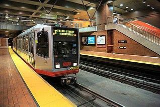 light rail system in San Francisco, California