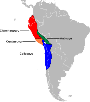 Qullasuyu - The four suyus of the Inca empire. Qullasuyu appears in blue.