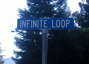 Infinite Loop (street) - Street sign of Infinite Loop.