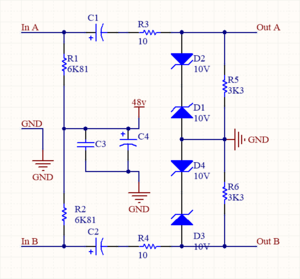 "Phantom power -  One method of supplying phantom power. A microphone or other device can obtain DC power from either signal line to ground terminal, and two capacitors block this DC from appearing at the output. R1 and R2 should be 6.81k ohms for ""P48"" 48 volt phantom. R3-6 and Zener diodes 1-4 protect the output to a maximum of 10v."