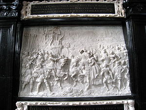 Alexander Colyn - Alexander Colyn, cenotaph of Maximilian I, marble relief based on wood carvings by Albrecht Durer