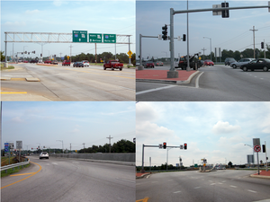 Diverging diamond interchange - Pictures from the first diverging diamond interchange in the United States, in Springfield, Missouri Top left: Traffic enters the interchange along Missouri Route 13 Top right: Traffic crosses over to the left side of the road Bottom left: Traffic crosses over Interstate 44 Bottom right:Traffic crosses back over to the right side of the road.