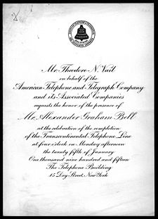 A ceremonial invitation card inscribed in formal print, addressed to Alexander Graham Bell, inviting him to a formal inauguration.
